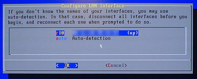 выбор сетевого интерфейса FreeNAS
