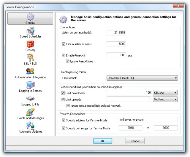 zFTP Server Suite - configuration - general