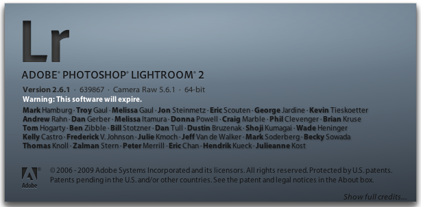 Adobe Photoshop Lightroom 2.6.1 in Mac OS X