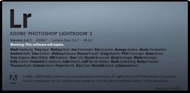 Adobe Photoshop Lightroom 2.6.1 in Mac OS X